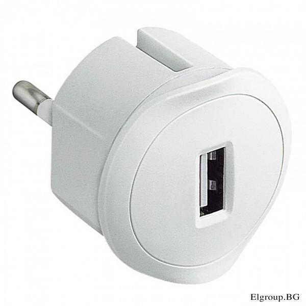 АДАПТЕР ШУКО+, 2P+E, USB ЗАРЯДНО 5V-1.5A, LEGRAND, 50680, БЯЛ