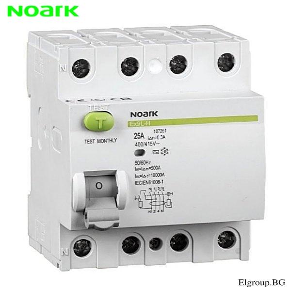 Дефектнотокова защита, 4P, 16A÷63A, 30mA, тип-AC, NOARK, Ex9L-N