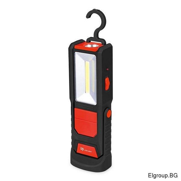 Акумулаторна LED лампа с 2-светлини, магнит и кука, COB 1W+2W
