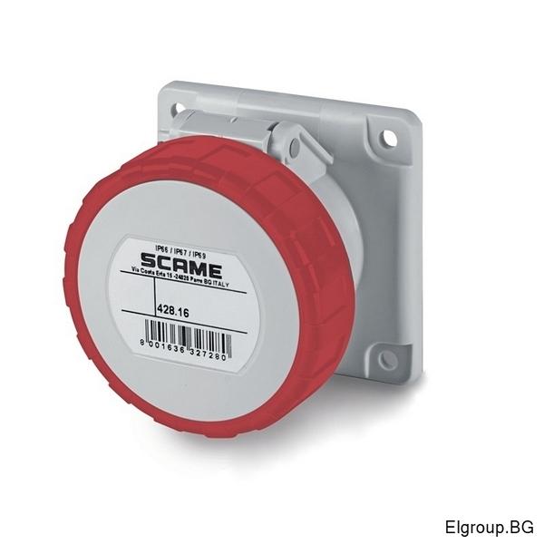 Промишлен контакт 16А, 3P+Е 6h, IP67, 75x75mm, SCAME 428.1666
