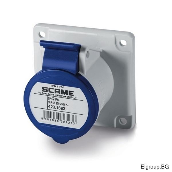 Промишлен контакт 16А, 2P+Е 6h, IP54, 75x75mm, SCAME 423.1663