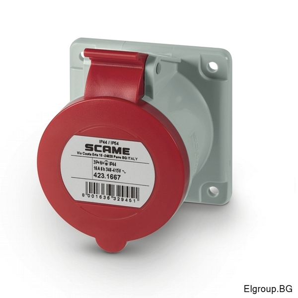 Промишлен контакт 16А, 3P+N+E 6h, IP54, 75×75mm, SCAME 423.1667