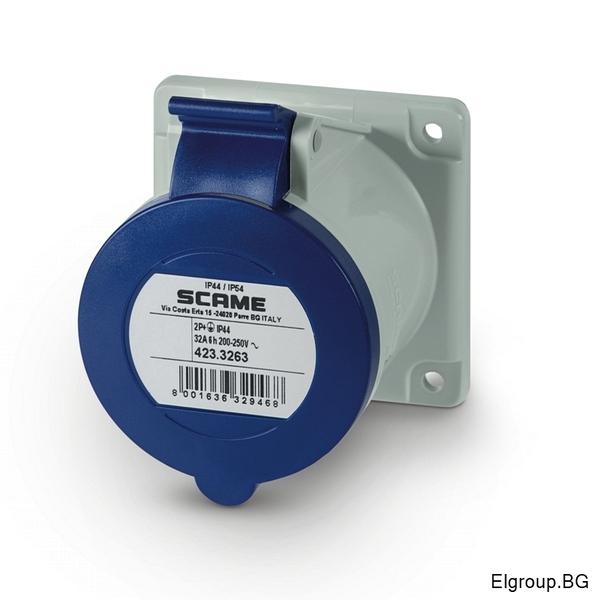 Промишлен контакт 32А, 2P+Е 6h, IP54, 75x75mm, SCAME 423.3263
