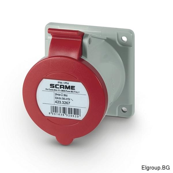 Промишлен контакт 32А, 3P+N+E 6h, IP54, 75×75mm, SCAME 423.3267
