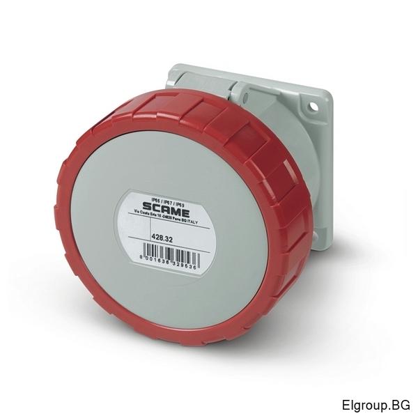 Промишлен контакт 32А, 3P+Е 6h, IP67, 75x75mm, SCAME 428.3266