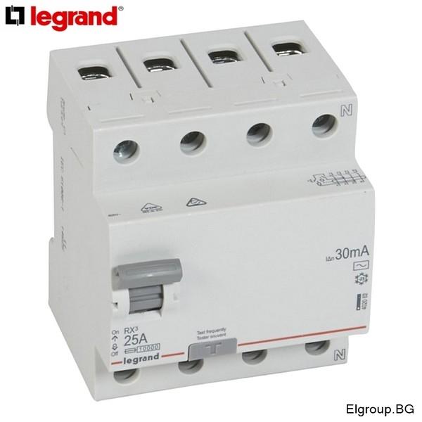 Дефектнотокова защита, 4P, 25A÷63A, 30mA, тип-AC, LEGRAND RX3