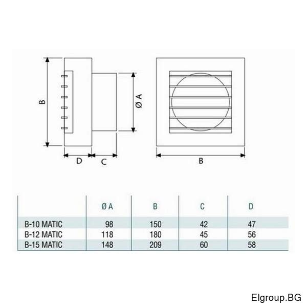 Cata B-10-12-15 MATIC dimensions