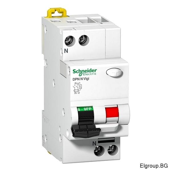 Комбинирана ДТЗ Acti 9, DPN N Vigi, 1P+N 10A÷40A, 30mA, тип-AC, крива-C, 6kA, Schneider Electric