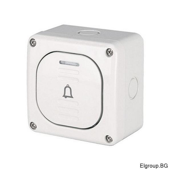Бутон (звънец) 10А, открит монтаж IP66, M95, Scame 137.5311B Protecta, СИВ