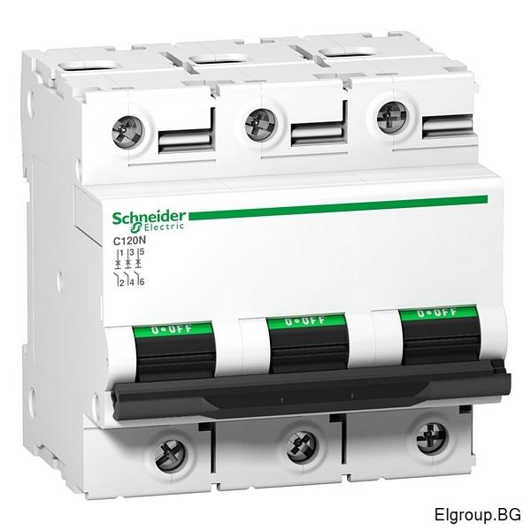 Автоматичен прекъсвач Acti 9, C120N, 3P 63A÷125A, крива-C, 10kA, Schneider Electric