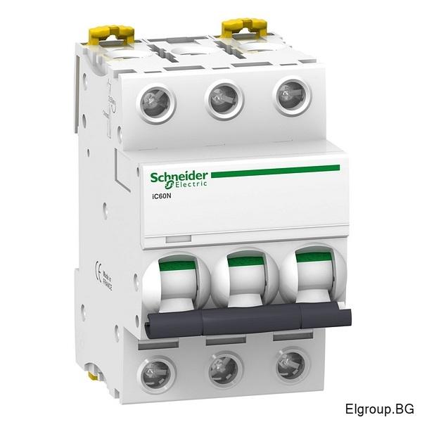Автоматичен прекъсвач Acti 9, iC60N, 3P 2A÷63A, крива-C, 6kA, Schneider Electric