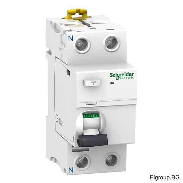 Дефектнотокова защита Acti 9, iID, 2P 25A÷63A, 30mA, тип-AC, 10kA, Schneider Electric