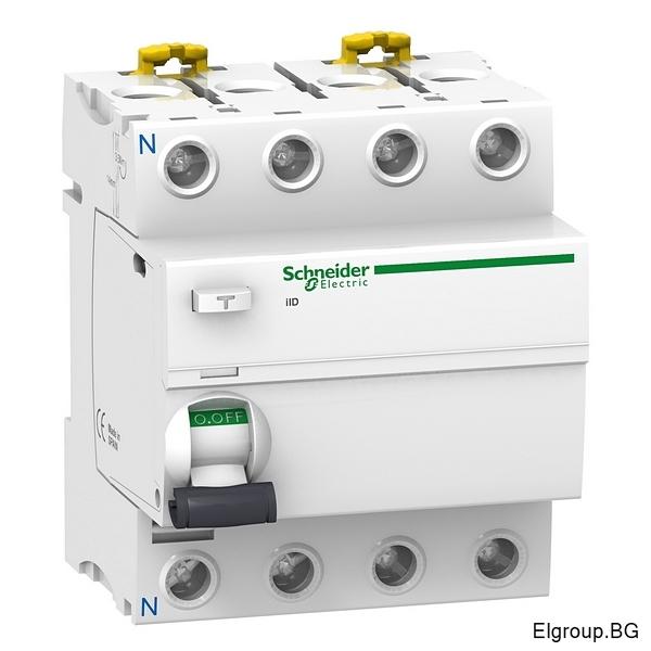 Дефектнотокова защита Acti 9, iID, 4P 25A÷63A, 30mA, тип-AC, 10kA, Schneider Electric