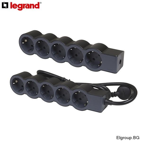 Разклонител 5-гнезда 5x2P+E, с/без кабел, Legrand Standard, ЧЕРЕН
