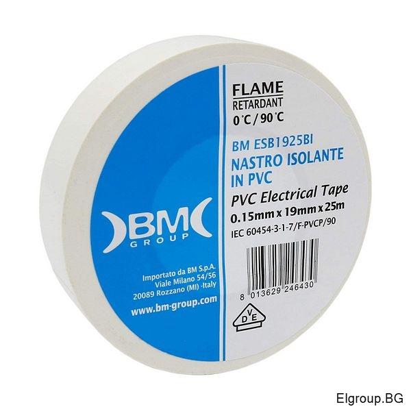 PVC изолационна лента (0,15мм*19мм*25м), BM Group ESB1925BI, БЯЛА