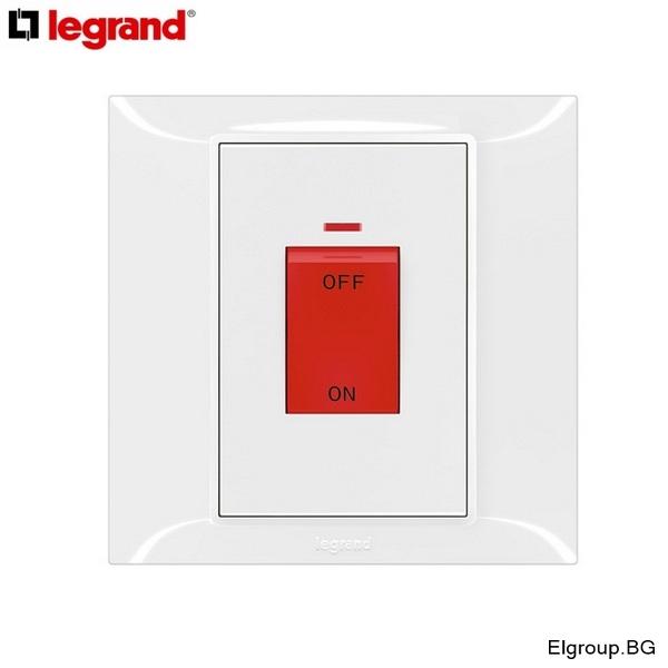 Бойлерен ключ 45А с индикация, Legrand, Belanko-S, 617676, БЯЛ